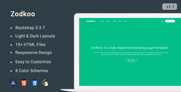 Zodkoo - Responsive Landing Page Template - Landing Pages Marketing