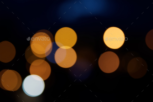 Night city street lights bokeh background - Stock Photo - Images