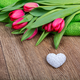 Tulips and heart on a wooden table - PhotoDune Item for Sale