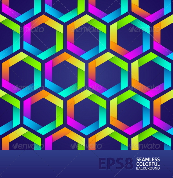 Seamless Background With Colorful Hexagons - Backgrounds Decorative