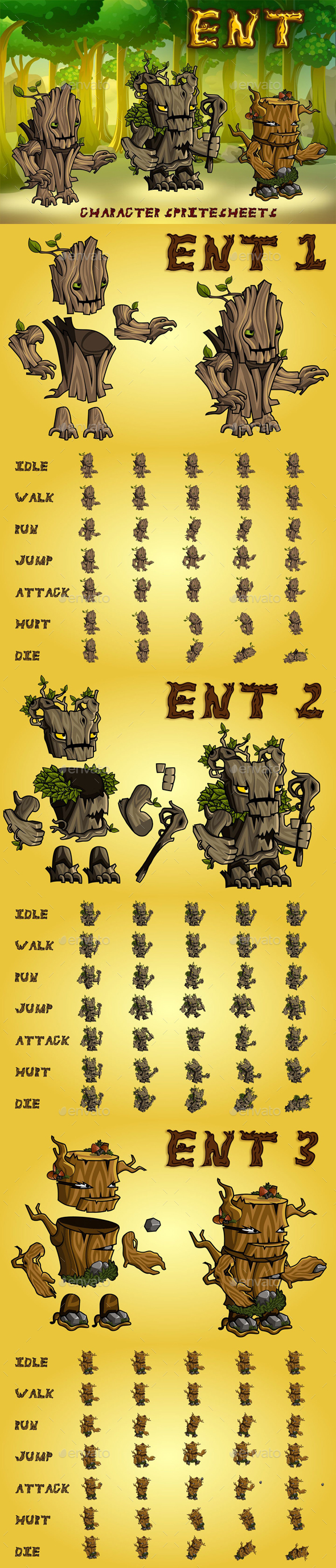 Ent 2D Game Character Sprite Sheet - Sprites Game Assets