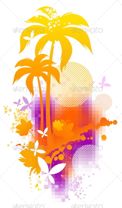 Abstract Summer Illustration - Seasons Nature