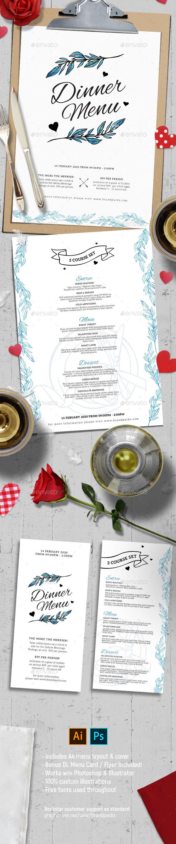 Valentine's Day Menu Vol. 3 - Food Menus Print Templates