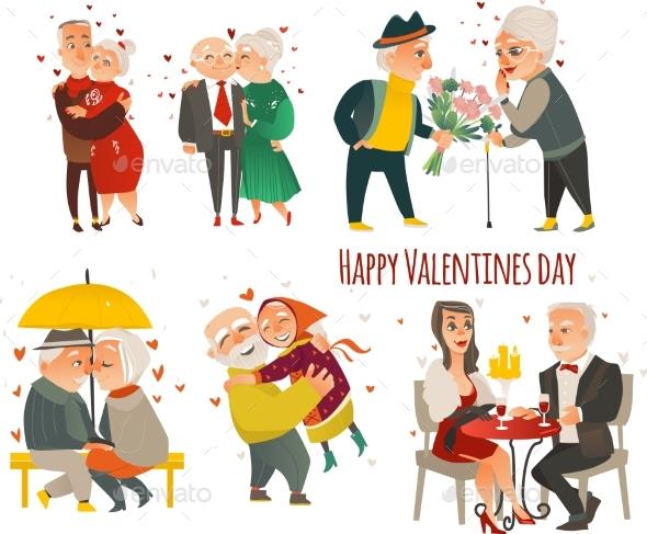 Set of Elder Senior Couples in Love, Valentine Set - People Characters