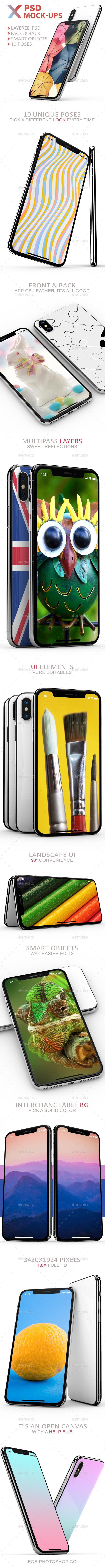 Phone X 10 PSD Mock-Ups - Mobile Displays