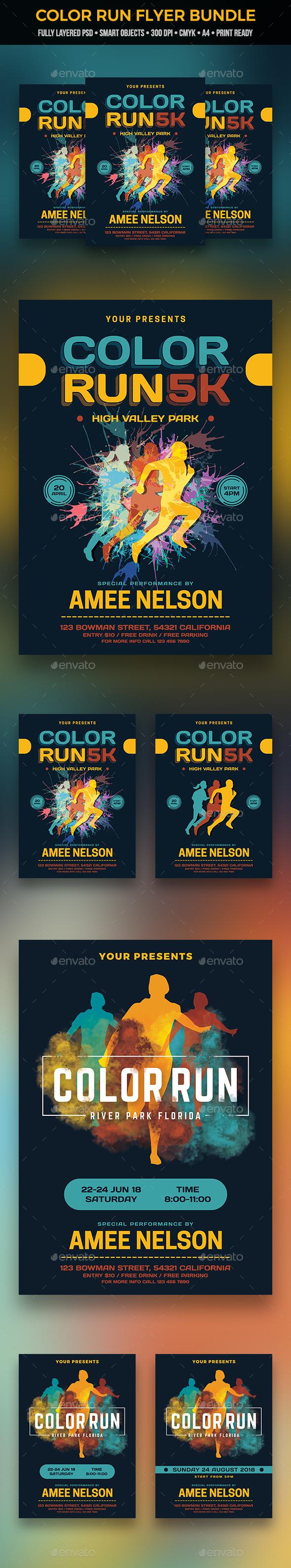 Color Run Flyer Bundle - Sports Events
