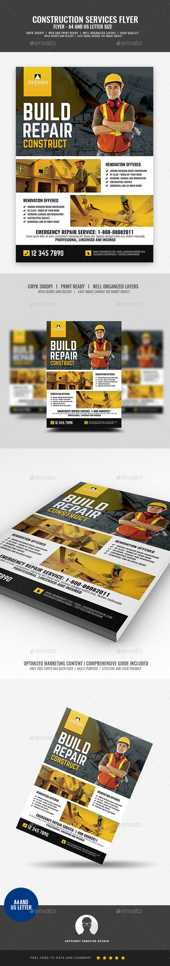 Construction and Building Company Flyer - Corporate Flyers