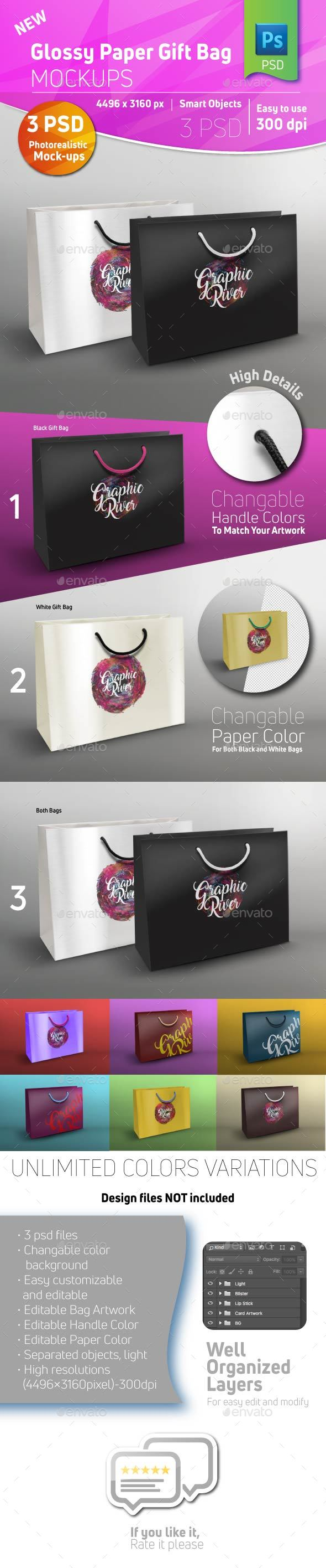 Glossy Paper Shopping Gift Bag Mockup - Miscellaneous Packaging