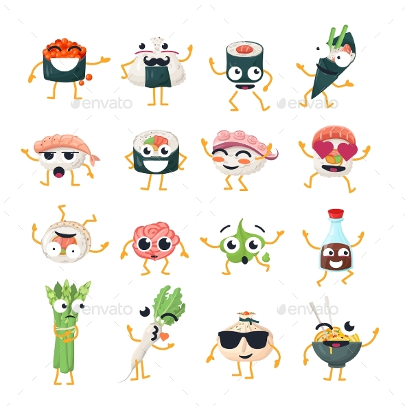 Sushi and Wok - Vector Isolated Cartoon - Miscellaneous Characters