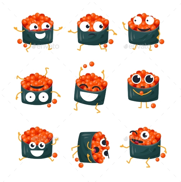 Sushi with Red Caviar - Vector Isolated - Miscellaneous Characters