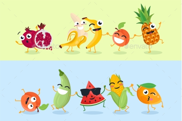 Funny Fruit and Vegetables - Set of Vector Cartoon - Miscellaneous Characters