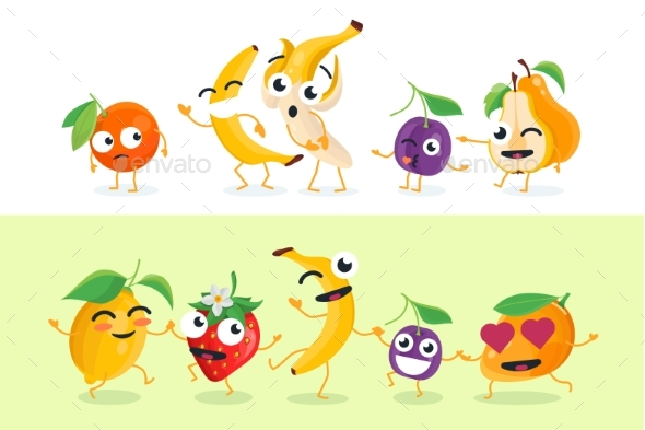 Funny Fruit - Set of Vector Isolated Characters - Miscellaneous Characters