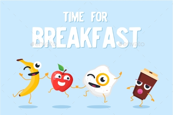 Time for Breakfast - Modern Vector Colorful - Miscellaneous Characters