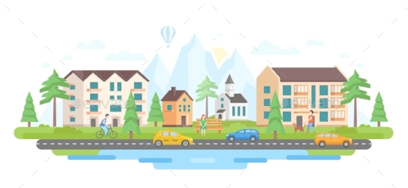 City By the Mountains - Modern Flat Design Style - Buildings Objects
