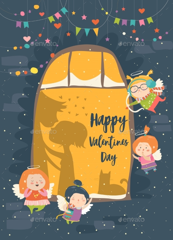 St.Valentine Card with Cupid and Couple - People Characters
