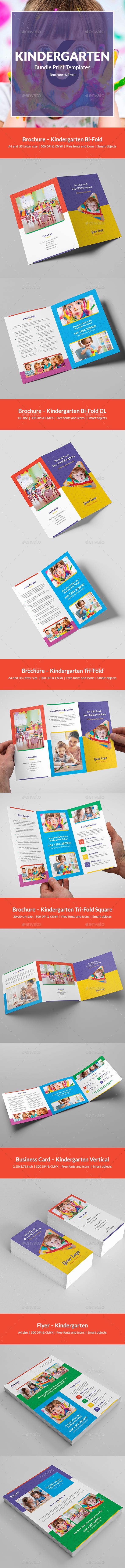 Kindergarten – Bundle Print Templates 6 in 1 - Informational Brochures