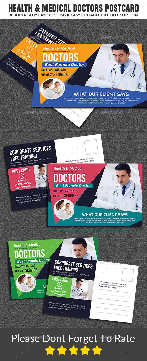 health & medical doctors postcard - Cards & Invites Print Templates