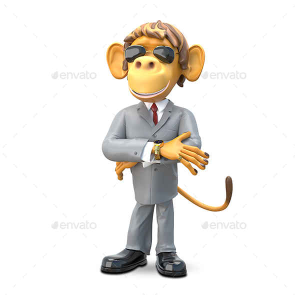 3D Illustration Monkey Boss - Characters 3D Renders