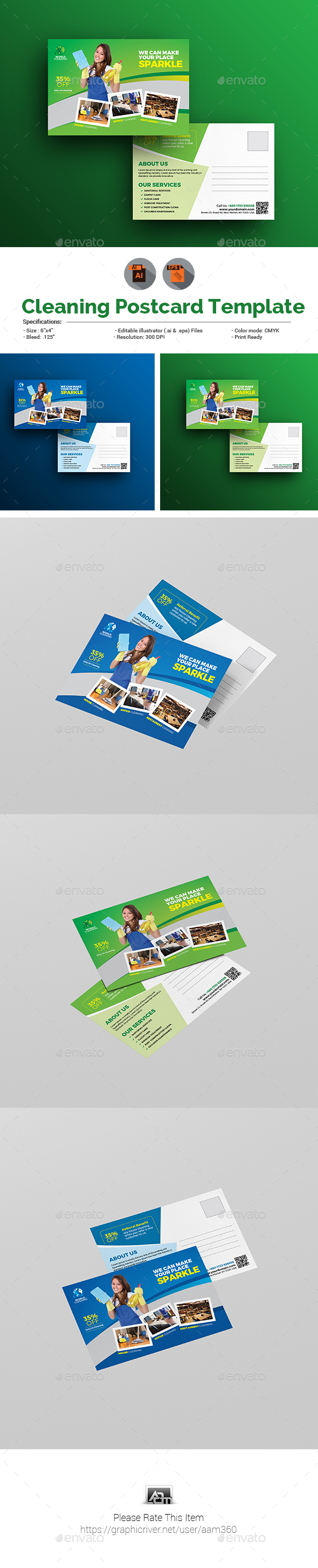 Clean Service Postcard Template - Cards & Invites Print Templates