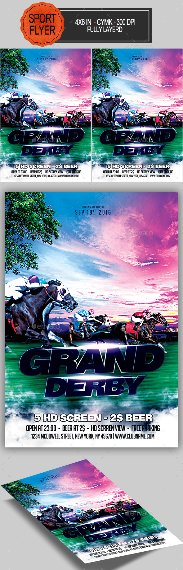 Grand Derby Horse Racing Flyer - Sports Events
