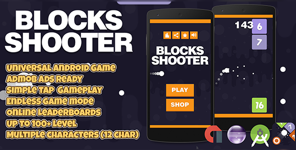 Blocks Shooter + Admob (Android Studio + Eclipse) Easy Reskin