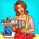 Vector Pop Art Woman Seamstress Sews on Machine