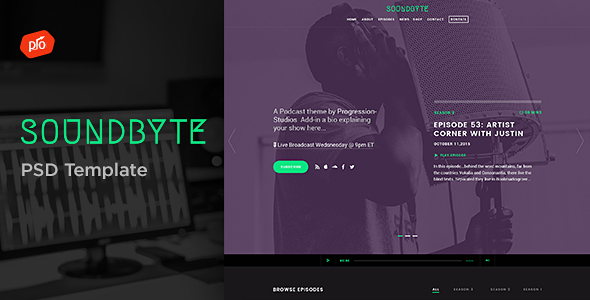 Soundbyte – Podcast/Audio PSD Template