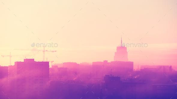 Misty sunrise over Szczecin City, Poland. - Stock Photo - Images