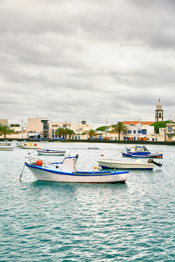 "Fishing boats in the laguna ""Charco de San Gines"" at Arrecife - Stock Photo - Images"