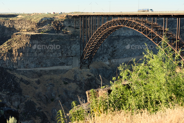Snake River and Perrine Bridge near Twin Falls, Idaho - Stock Photo - Images