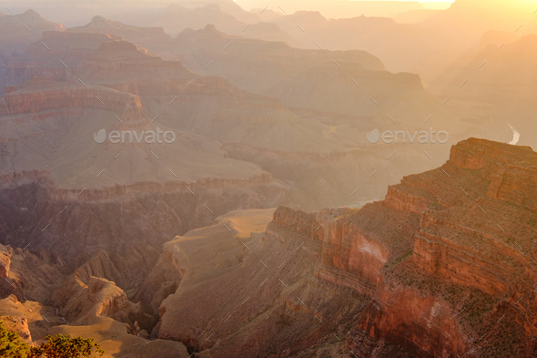 Grand Canyon landscape at sunrise - Stock Photo - Images