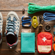 Download Travel items for hiking flat lay from PhotoDune