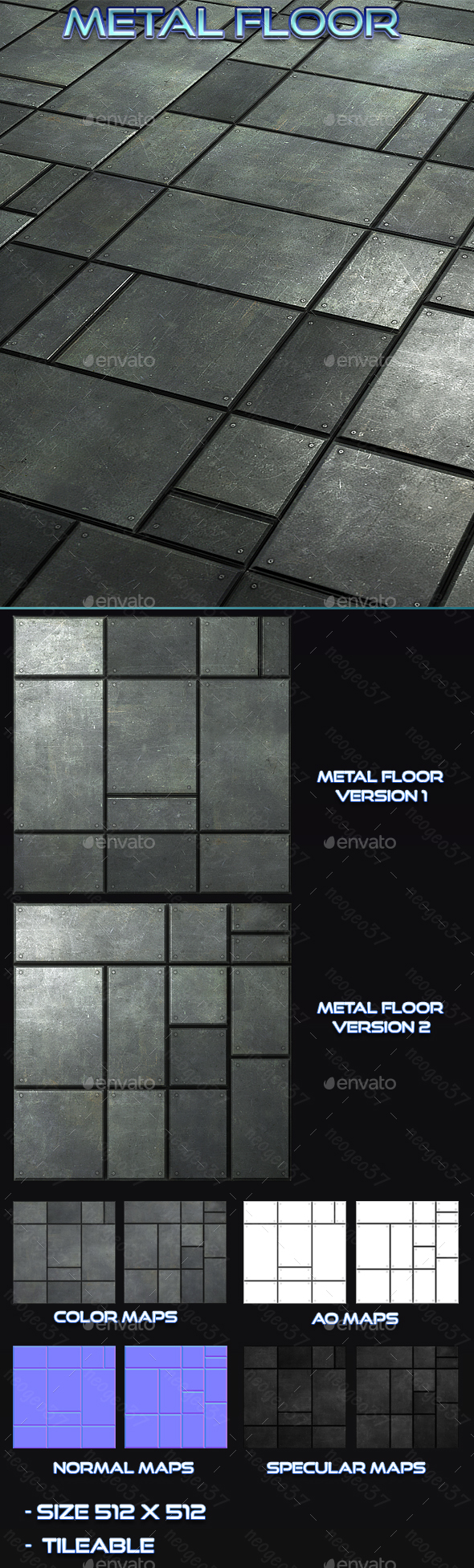Metal Floor Title - 3DOcean Item for Sale