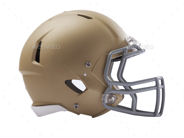 Modern football helmet isolated on a white background - Stock Photo - Images