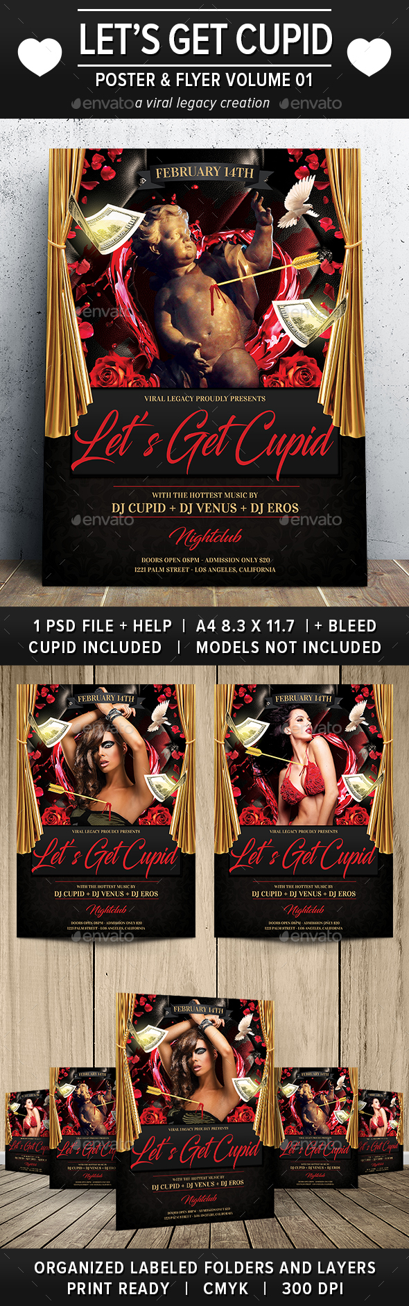 Valentine Let's Get Cupid Flyer / Poster V01 - Flyers Print Templates