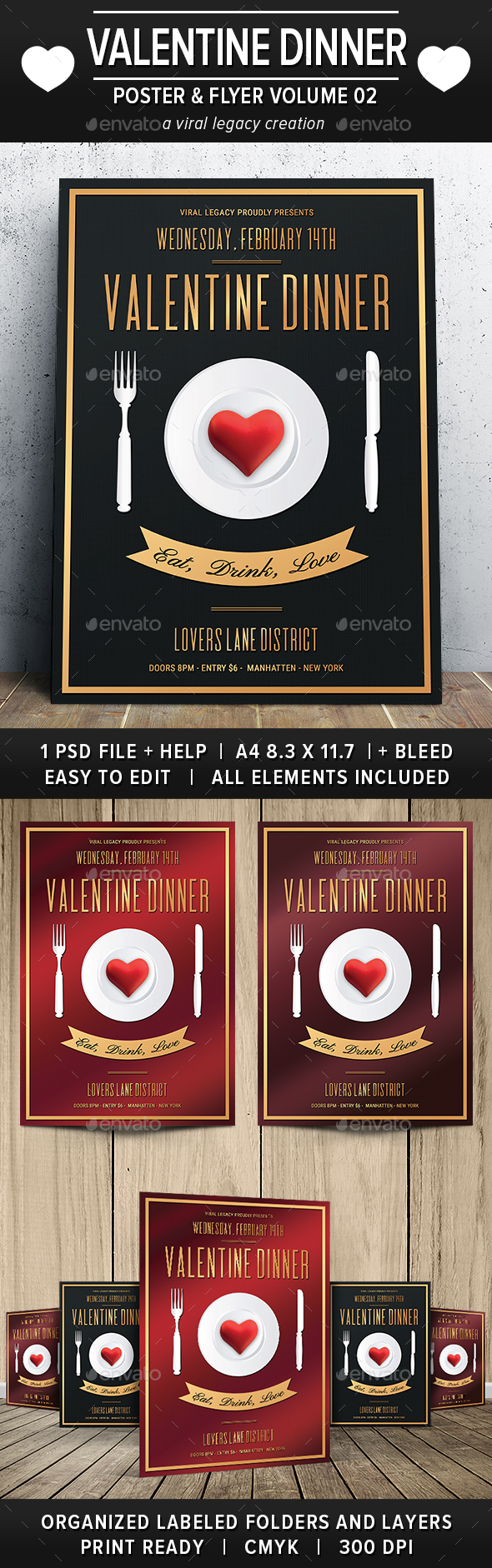 Valentine Dinner Poster / Flyer V02 - Flyers Print Templates