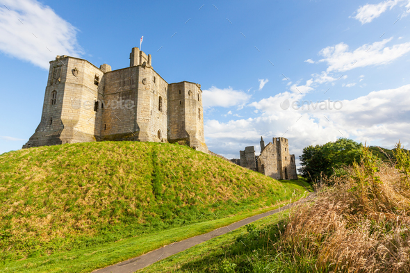 Warkworth Castle in England - Stock Photo - Images