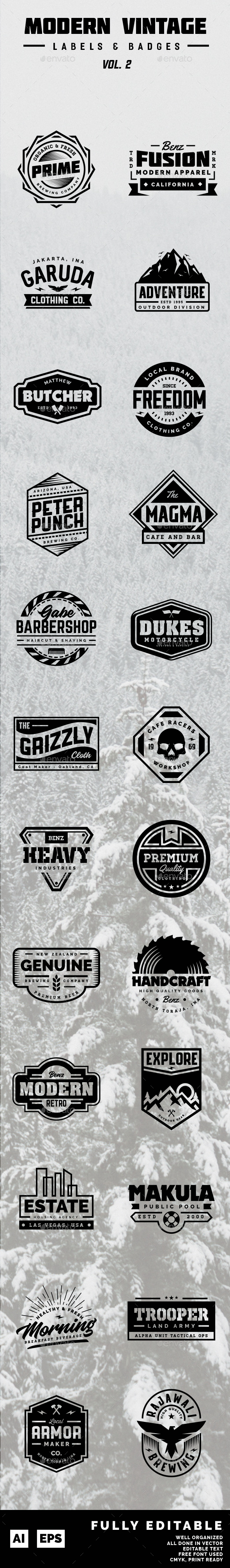 Modern Vintage Label and Badges Vol 2 - Badges & Stickers Web Elements