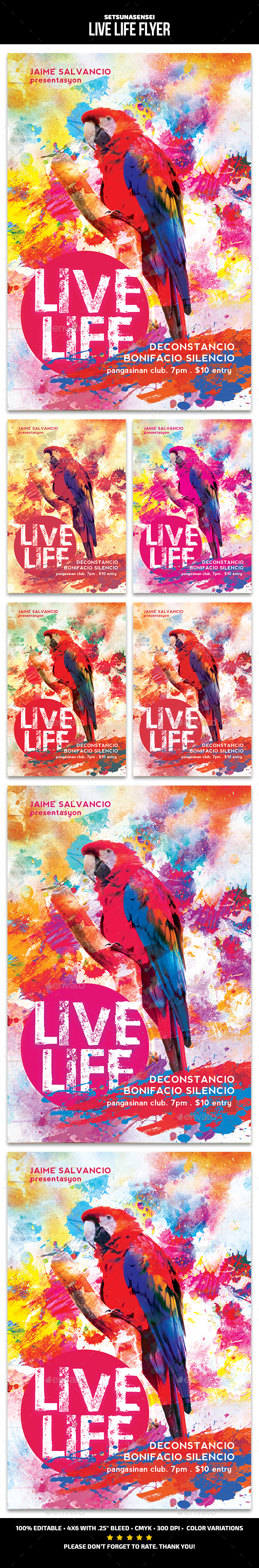 Live Life Flyer - Events Flyers