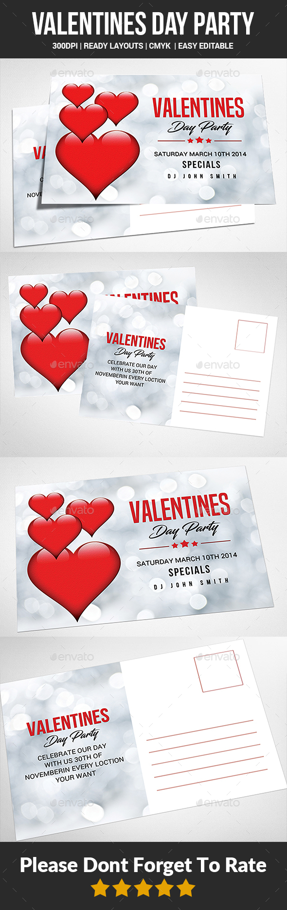 Valentine Post Card Templates - Cards & Invites Print Templates