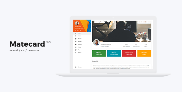 Image of mateCard - Materialize vCard/CV/Resume HTML Template