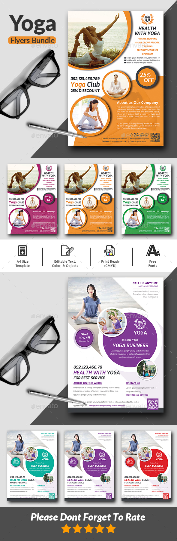 Yoga Flyers Bundle template - Corporate Flyers