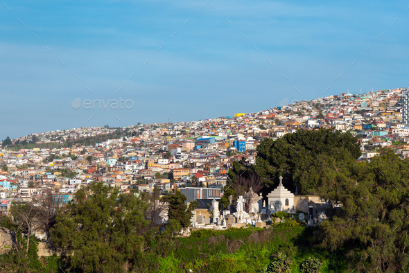 View over the colorful houses of Valparaiso - Stock Photo - Images