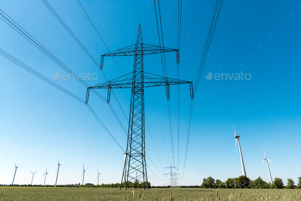 Electric pylon and power transmission line - Stock Photo - Images