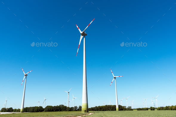 Wind power in the fields in Germany - Stock Photo - Images