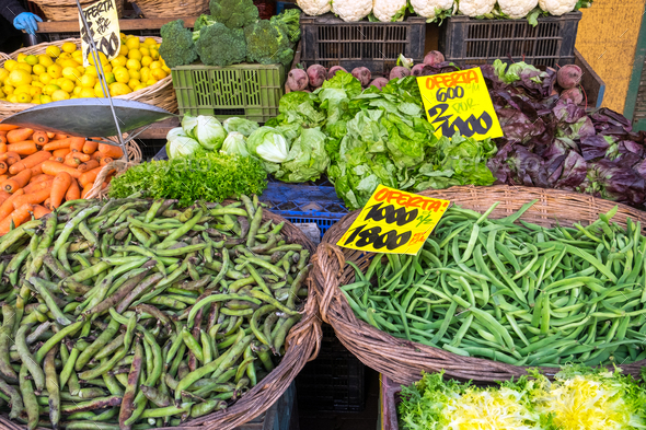 Vegetables and salad for sale at a market  - Stock Photo - Images