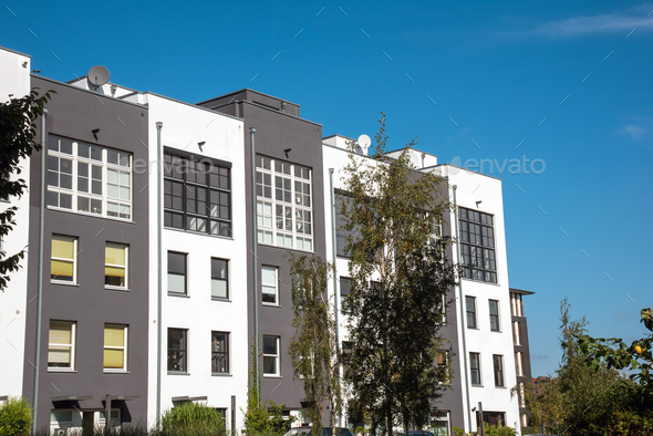Modern serial houses in Berlin, Germany - Stock Photo - Images