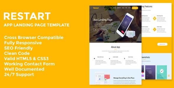 Restart - Responsive App Landing Page