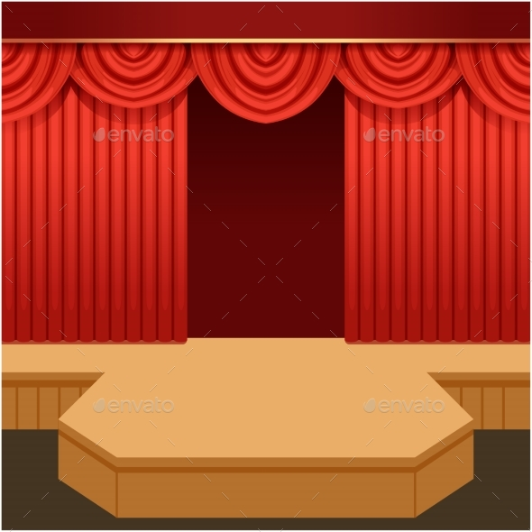 Open Theater Scene with Red Curtain and Fashion - Backgrounds Decorative