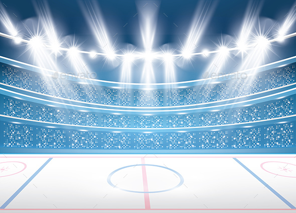 Ice Hockey Stadium with Spotlights - Sports/Activity Conceptual